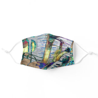 Abstract Music Art Collage - mixed media Adult Cloth Face Mask