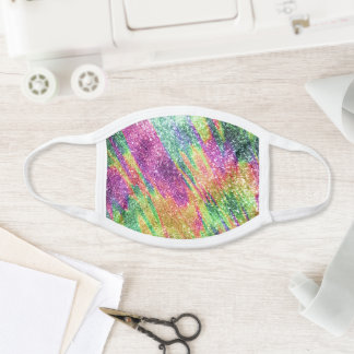 Abstract Neon Rainbow Sparkly Glitter Pattern Face Mask