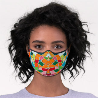 Abstract Oranges & More Mosaic Pattern Premium Face Mask