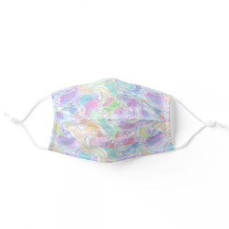 Abstract Pastel Summer Waves Swirls Art Pattern Adult Cloth Face Mask