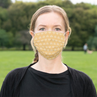 Abstract Pattern of light Yellow Hearts on Mustard Adult Cloth Face Mask
