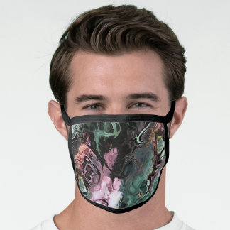 Abstract pink and gray marble tie dye pattern face mask