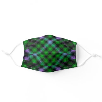 Abstract Plaid Design in Green and Purple Adult Cloth Face Mask