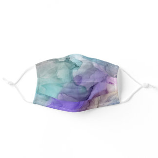 Abstract Purple and Teal Watercolors Pattern Adult Cloth Face Mask