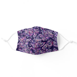 Abstract purple blue paisley floral pink pattern adult cloth face mask
