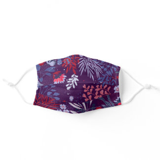 Abstract Purple Botanical Floral Wildflowers Adult Cloth Face Mask