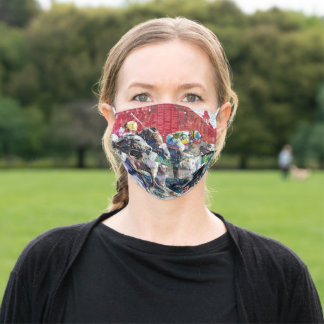 Abstract Race Horses Collage Adult Cloth Face Mask