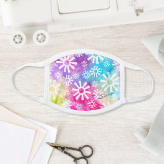Abstract Rainbow Flower Colorful Tribal Add Name Face Mask