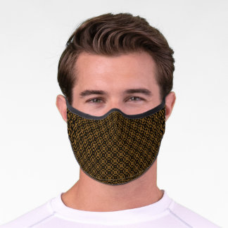 Abstract Tiny Scale Geometric Pattern Gold | Black Premium Face Mask