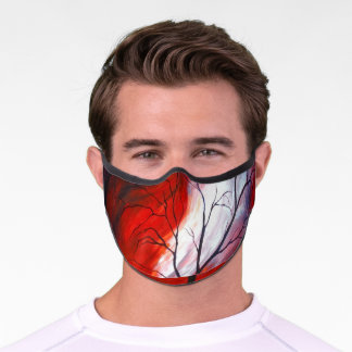 Abstract Tree and Red Sky Premium Face Mask