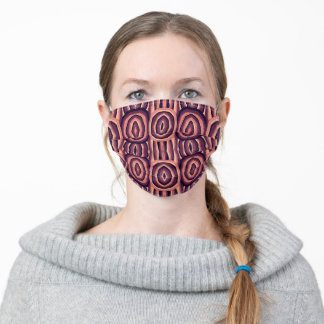 Abstract Tribal in Purple, Orange, Peach Face Mask