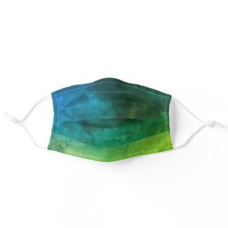 Abstract Watercolor Ombre Dark Blue Light Green Adult Cloth Face Mask