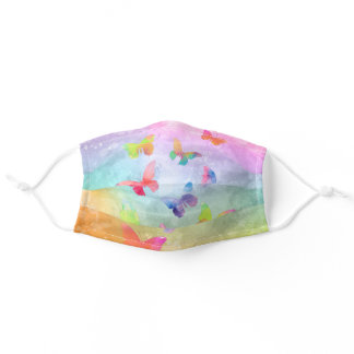 Abstract Watercolored Butterflies Adult Cloth Face Mask