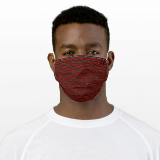 Abstract Wavy Stripes Pattern Black Red Gold Adult Cloth Face Mask