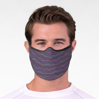 Abstract Wavy Stripes Pattern Purple Pink Lavender Premium Face Mask