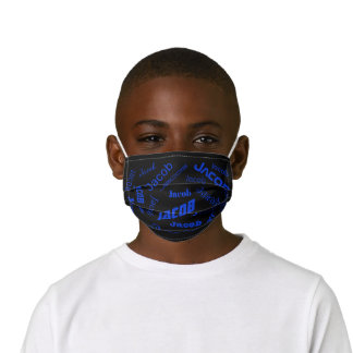 Add Any Name or Word | Blue & Black Kids' Cloth Face Mask