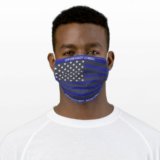 Add Name,  Thin Blue Line Law Enforcement Officer Adult Cloth Face Mask