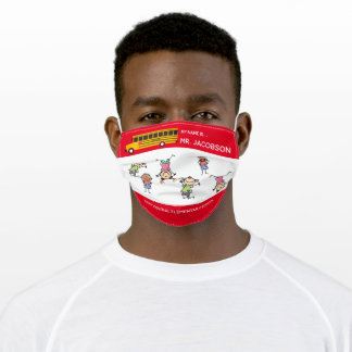 Add Name to School Bus Driver Adult Cloth Face Mask