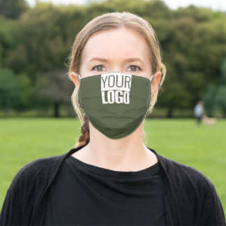 Add your logo -   dark green solid color adult cloth face mask