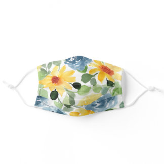 Add Your Name Watercolor Floral Foliage Adult Cloth Face Mask