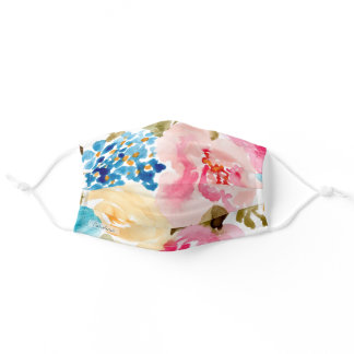 Add Your Name Watercolor Spring Floral Foliage Adult Cloth Face Mask