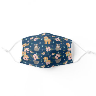 Adorable Cat & Dog Floral Paw Print Pattern Navy Adult Cloth Face Mask