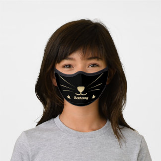 Adorable Gold Cat Face Personalized Name Premium Face Mask