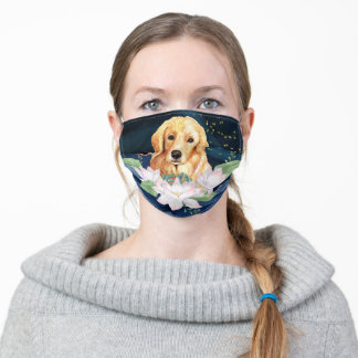 Adorable Golden Retriever dog with flower washable Adult Cloth Face Mask