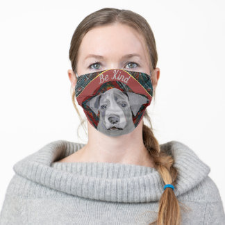 """Adorable Great Dane Puppy """"Be Kind"""" Editable Adult Cloth Face Mask"""