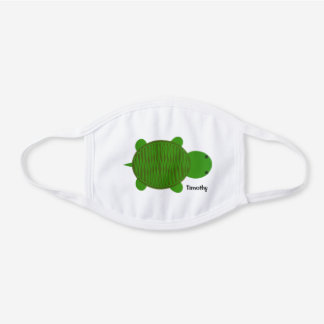 Adorable Green Turtle White Cotton Face Mask