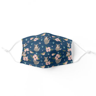 Adorable Kitty Cat Floral Paw Print Pattern Navy Adult Cloth Face Mask