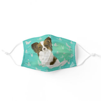 Adorable Papillon puppy Adult Cloth Face Mask