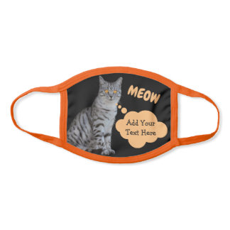 Adorable Tabby Cat Speech Bubble Add Your Text Face Mask