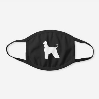 Afghan Hound Dog Breed Silhouette Black Cotton Face Mask