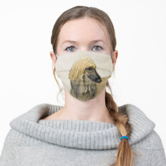 Afghan Hound Painting - Cute Original Dog Art Adult Cloth Face Mask
