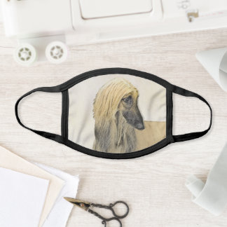 Afghan Hound Painting - Cute Original Dog Art Face Mask
