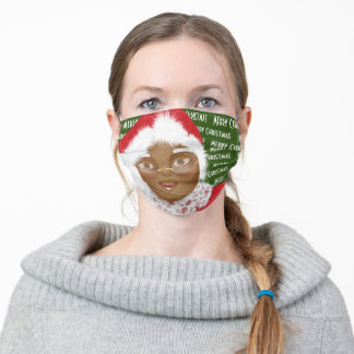 African American Mrs Claus Christmas Adult Cloth Face Mask