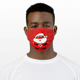 African-American Santa Claus Christmas holiday red Adult Cloth Face Mask