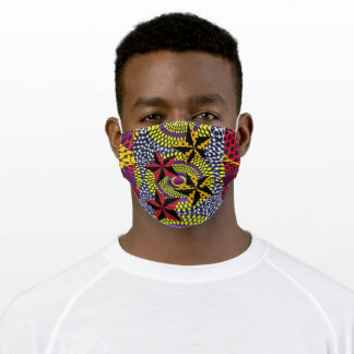 African Ethnic Print Gray Yellow Red Adult Cloth Face Mask