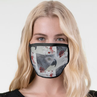 African Grey Love Letters Face Mask