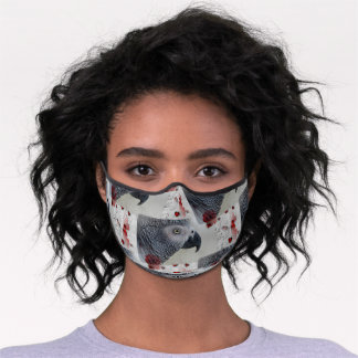African Grey Love Letters Premium Face Mask