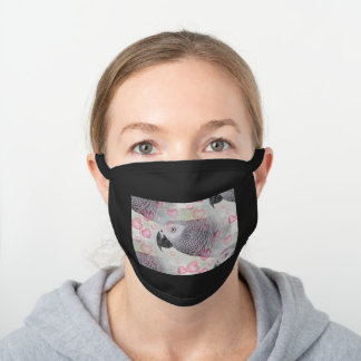 African Grey Puffy Hearts Black Cotton Face Mask