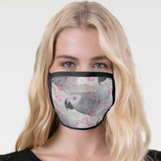 African Grey Puffy Hearts Face Mask