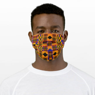 African Kente Pattern Gold Orange Black Adult Cloth Face Mask