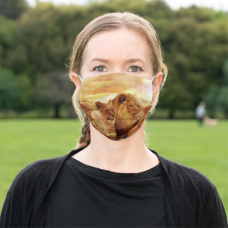 African lions - safari - wildlife adult cloth face mask