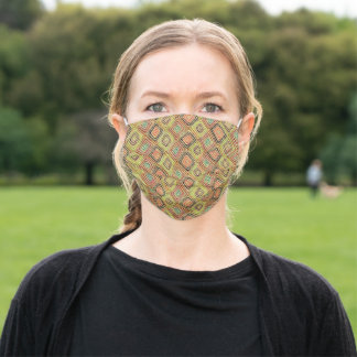 African Mud Cloth Style Gold Green Adult Cloth Face Mask