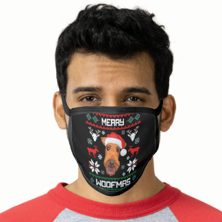Airedale Terrier Merry Woofmas Face Mask