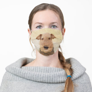 Airedale Terrier Painting - Cute Original Art Adult Cloth Face Mask