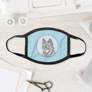 Alaskan Klee Kai Painting - Cute Original Dog Art Face Mask