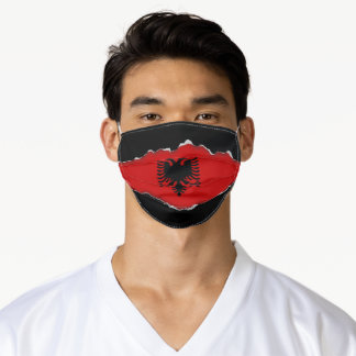 Albania Flag | Faux Torn Out Look Adult Cloth Adult Cloth Face Mask